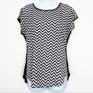 Espresso short sleeve black and white blouse